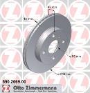 Jeu de 2 disques de frein avant OTTO ZIMMERMANN GMBH 590.2569.00