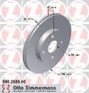 Jeu de 2 disques de frein avant OTTO ZIMMERMANN GMBH 590.2580.00
