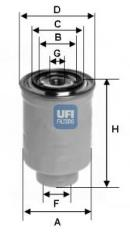 Filtro combustible UFI FILTERS SPA 24.411.00